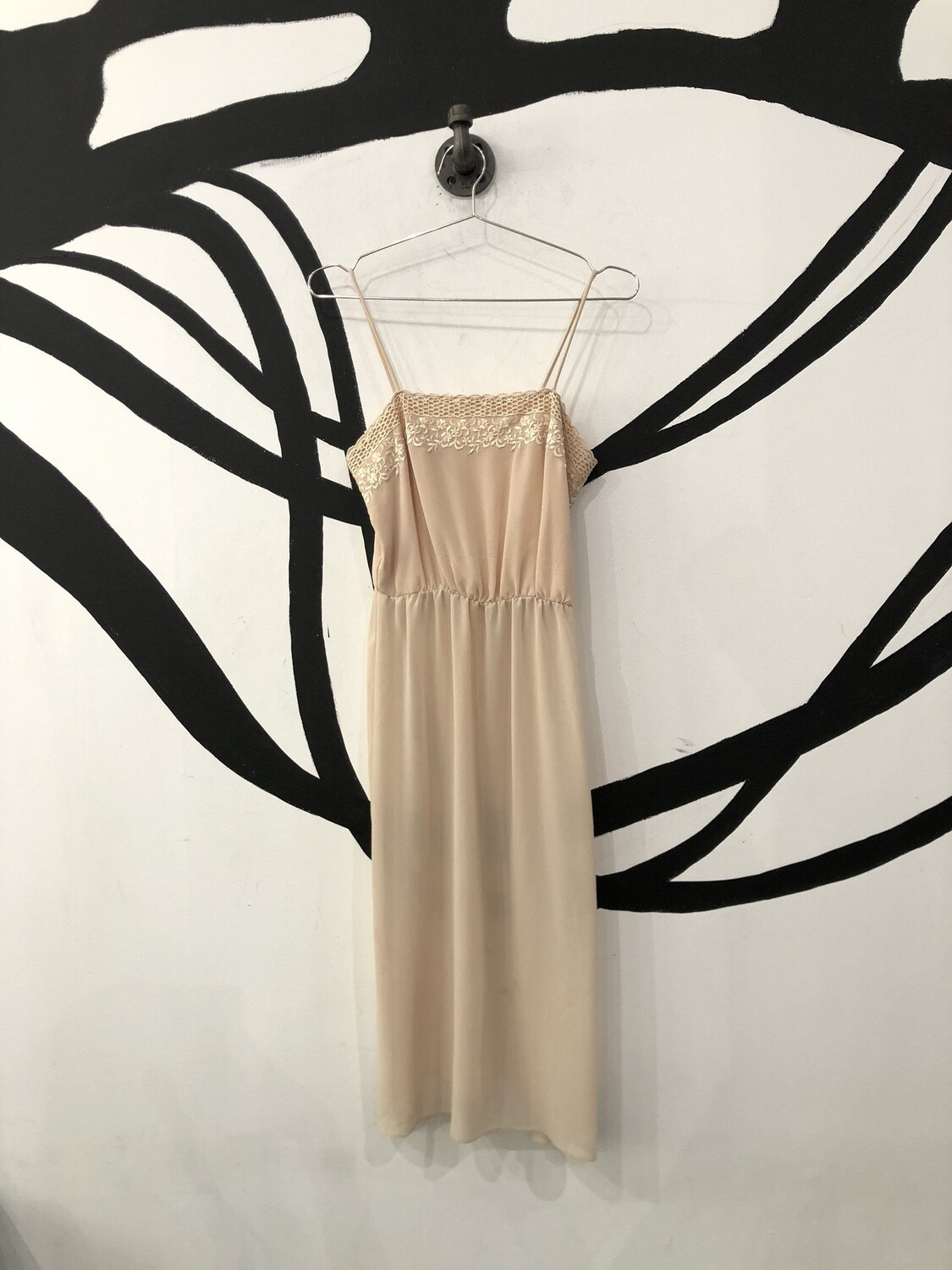 Cream Floral Sheer Dress Size M