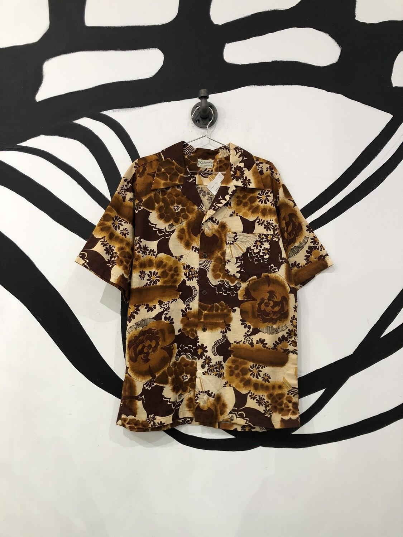 Men's Brown Tone Hawaiian Button Up Size L