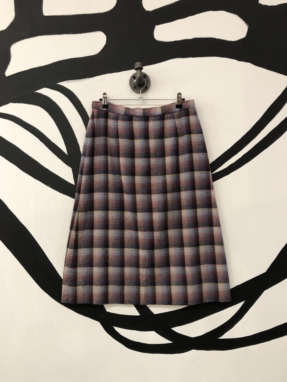 Plaid Wool Skirt Size M
