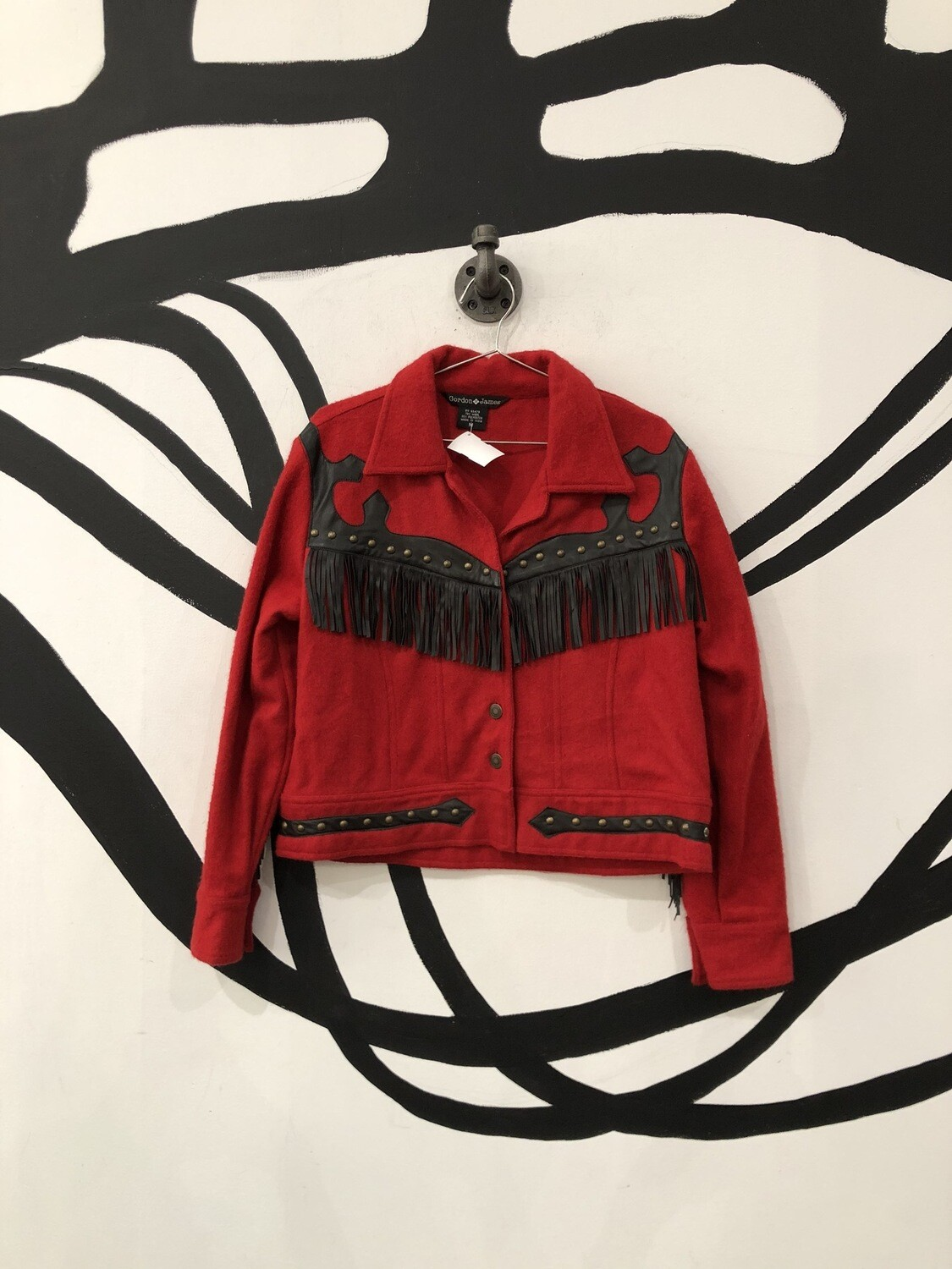 Red Wool Fringe Jacket Size M
