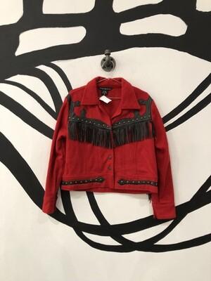 Red Wool Fringe Jacket Size M