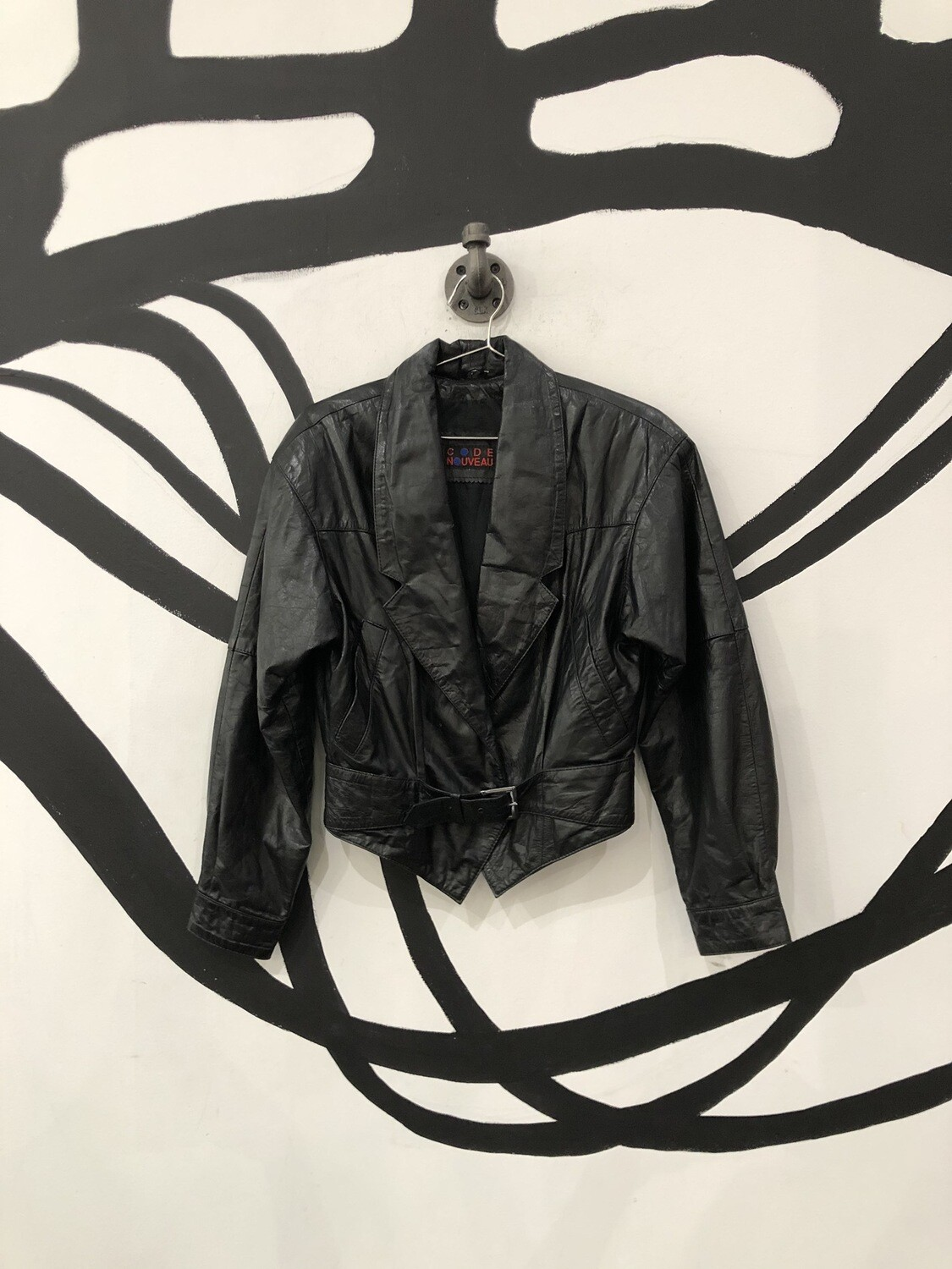 80's Belted Leather Jacket Size S