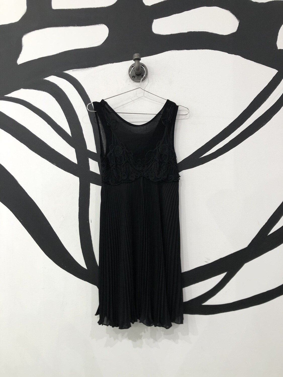 Black Embroidered Ruffle Dress Size S