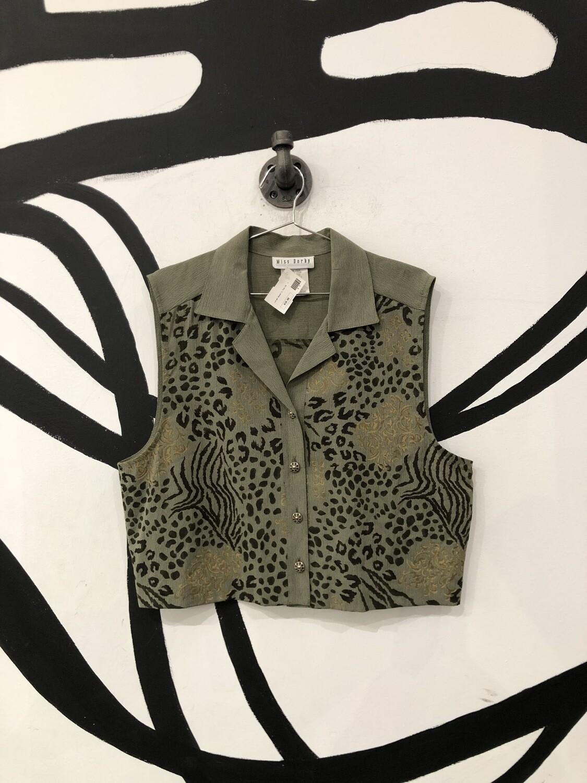 Animal Print Green Vest Top Size L