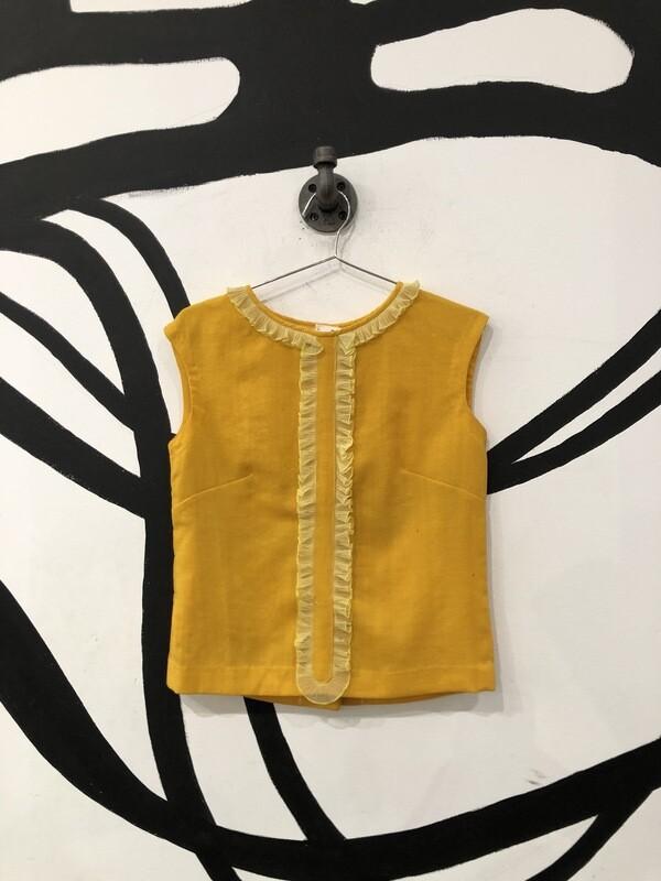 Yellow Button Back Ruffle Top Size M
