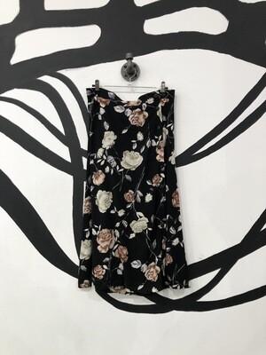 Black Floral Print Button Front Skirt Size M