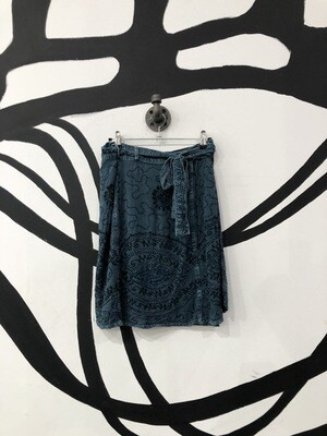 Embroidered Blue Wrap Skirt Size S