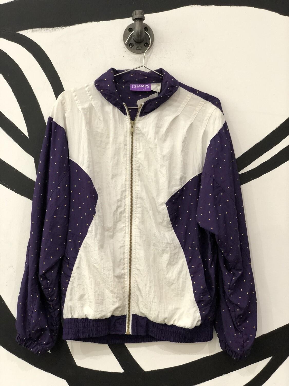 Champs Style Purple Polka Dot Zip-Up Windbreaker Size S