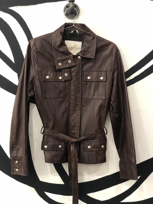 A. Raspini Firenze Italian Leather Double Zipper Jacket With Belt Size M