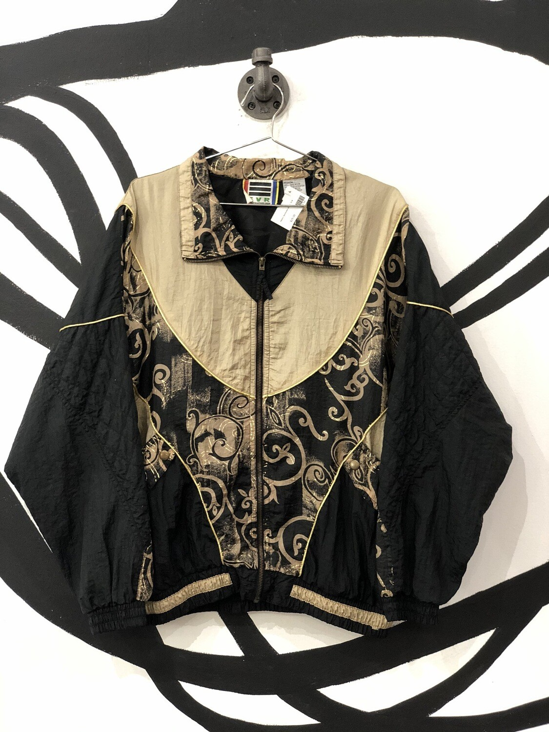 EVR Gold Detailed Zip-Up Windbreaker Size M
