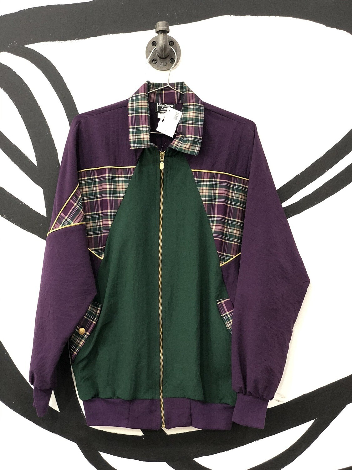 Southern Lady Plaid Accent Track Jacket Size M