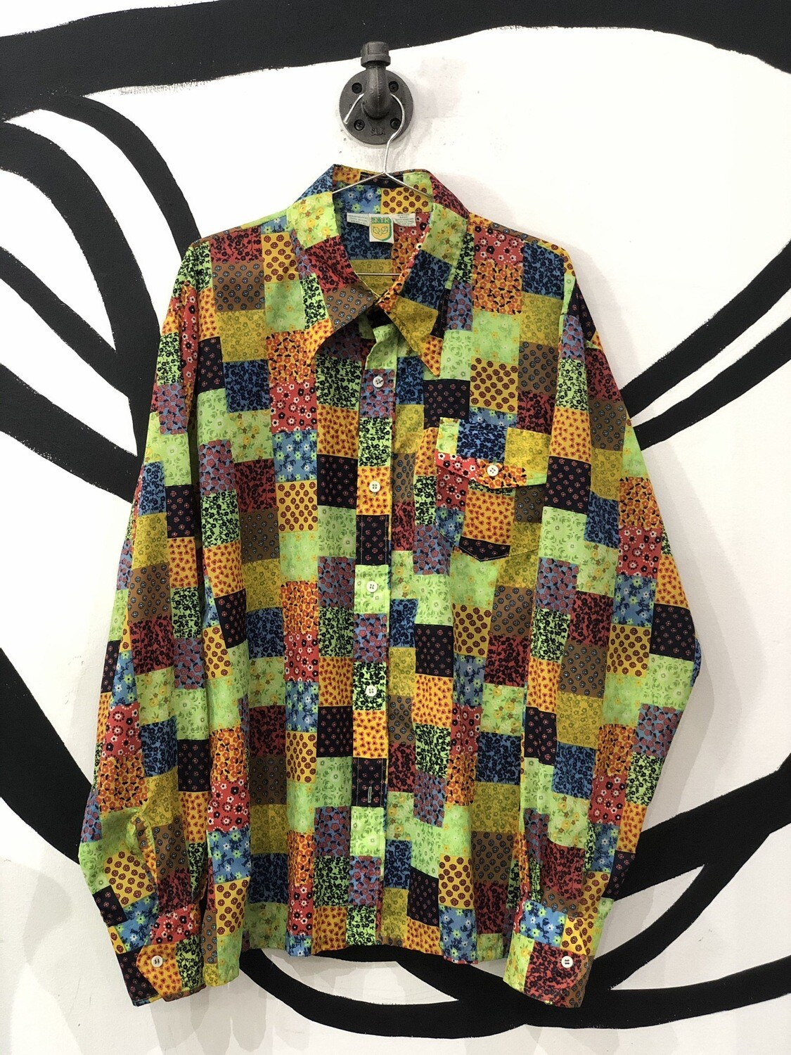 Patchwork Floral Long Sleeve Button Up Top Size XL