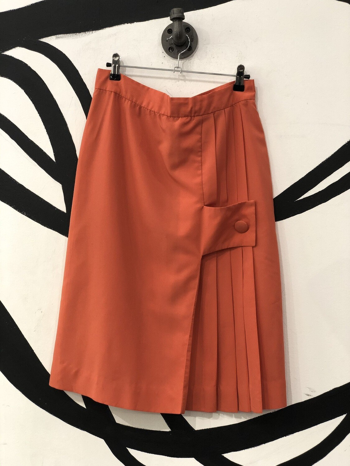 Tangerine Pleated Single Button-Over Skirt Size M