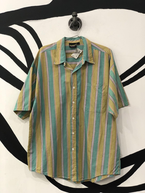 Hutspah Vertical Stripe Short Sleeve Button Down Top Size L