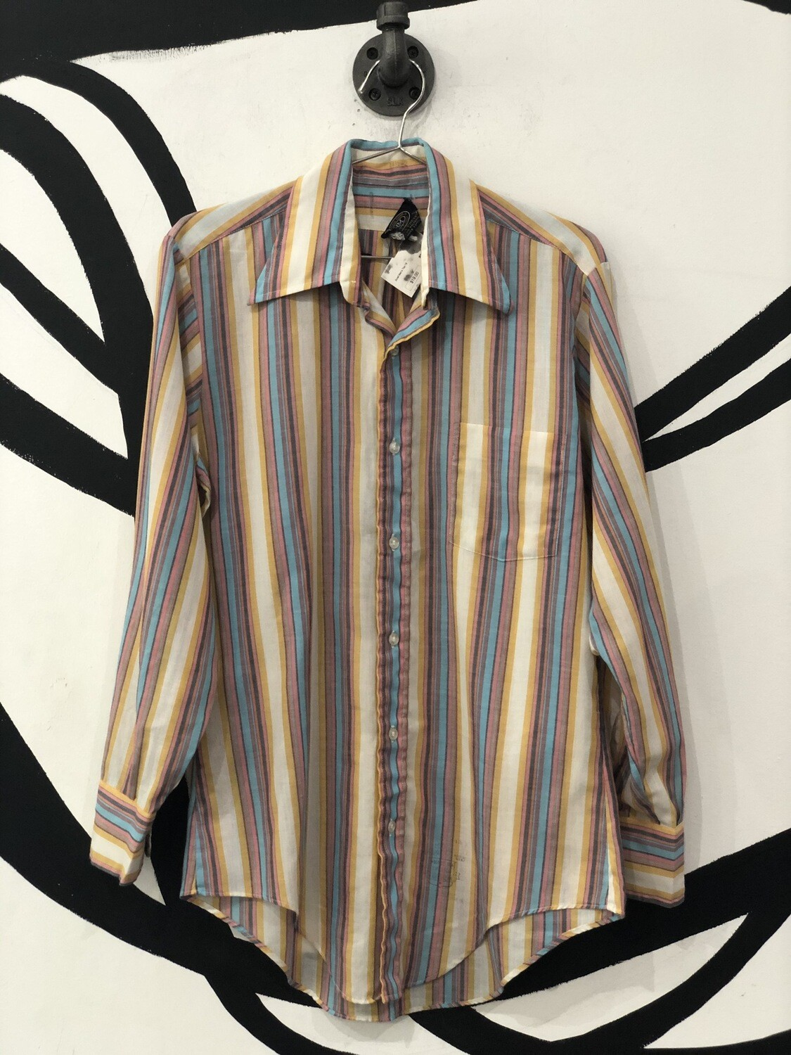 Honor Man Vertical Stripe Long Sleeve Button Up Top Size 14 1/2