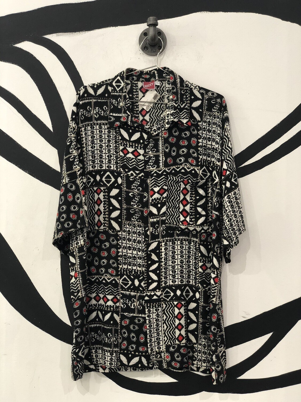 Rocky B&W Geometric Pattern Short Sleeve Button Up Top Size XL