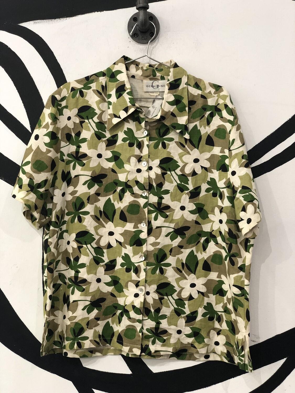 Geraldine Linen Floral Short Sleeve Button Up Too Size L