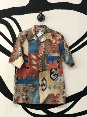 First New Mexico Print Short Sleeve Button Up Size M