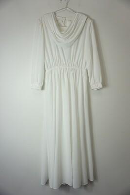White cowl neck dress