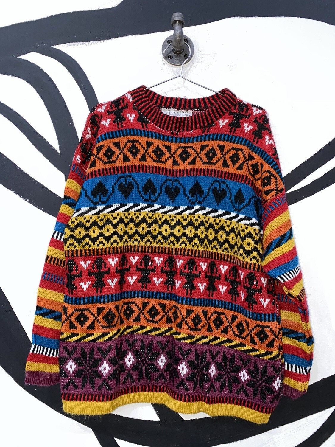 Multicolored Printed Knit Sweater Size M