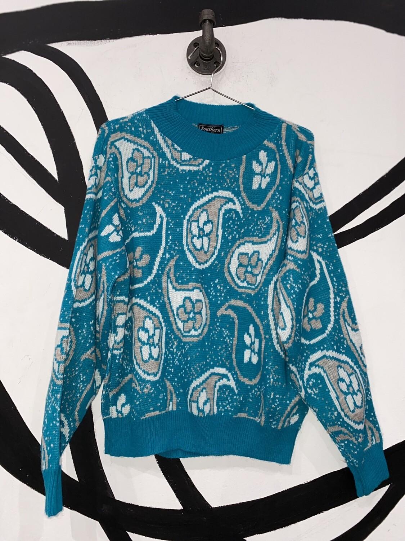 Blue Paisley Knit Sweater Size M