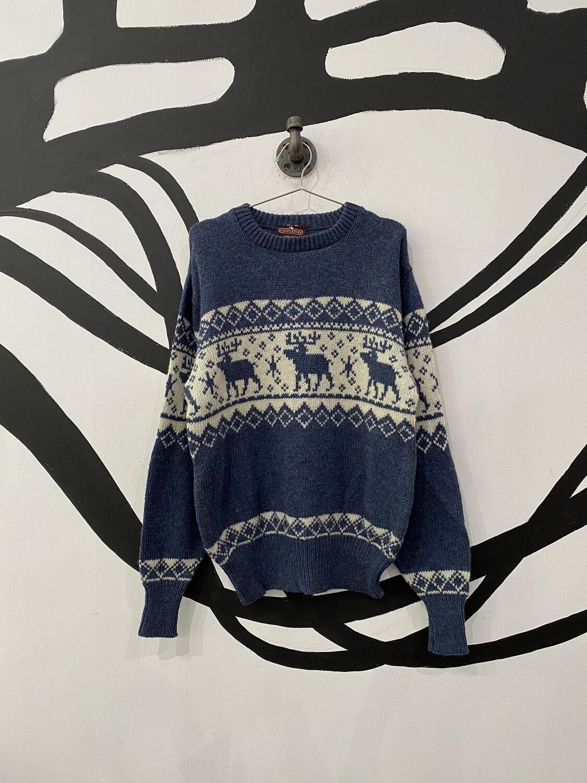 Blue Moose Pattern Sweater Size L