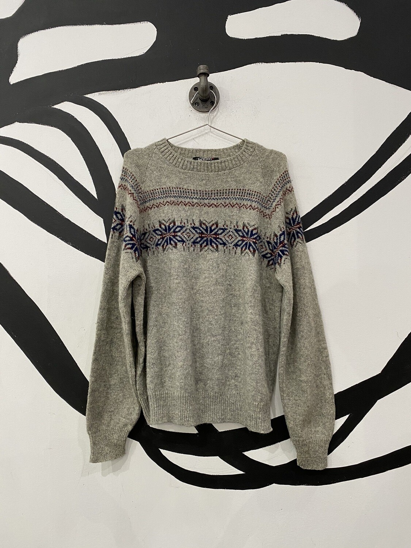 Grey Patterned Sweater Size L