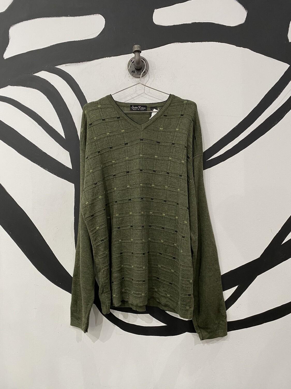 Green V-Neck Sweater Size L