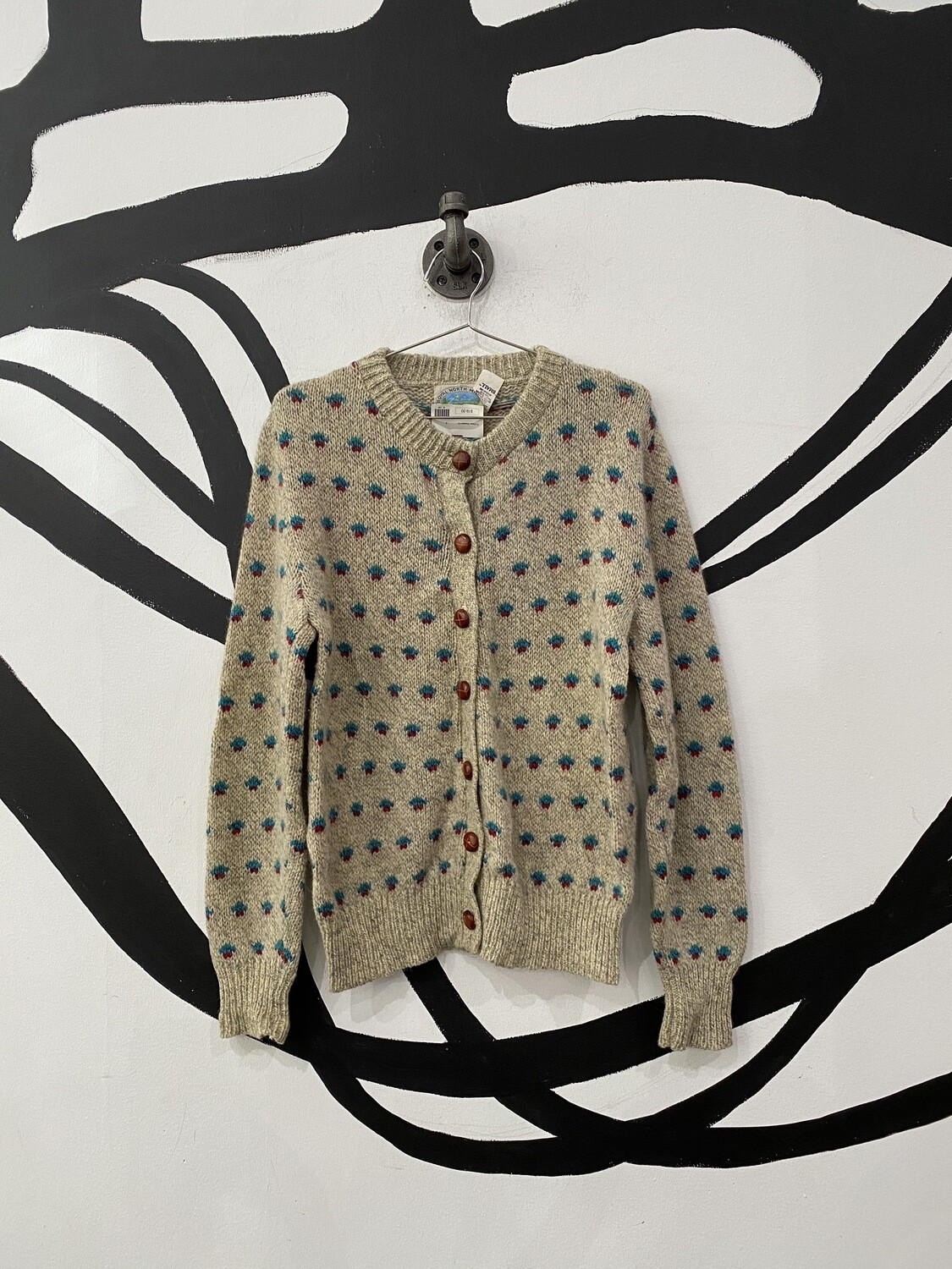 Patterned Tan Cardigan Size S