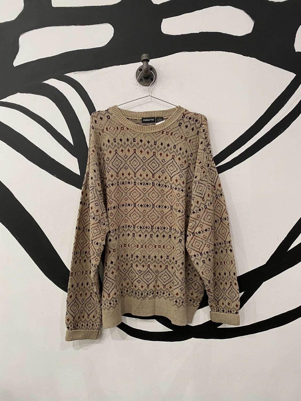 Tan Patterned Sweater Size L