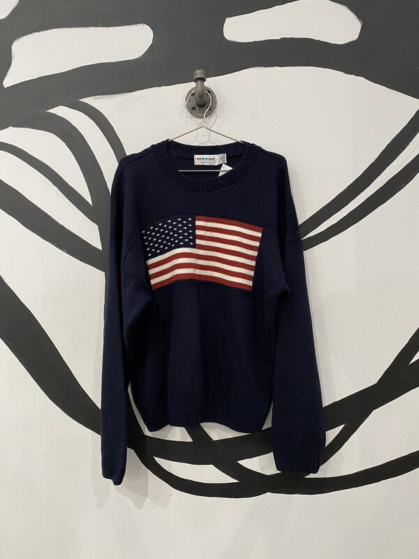American Flag Navy Sweater Size L