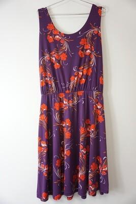 Sleeveless Purple Floral Print Dress