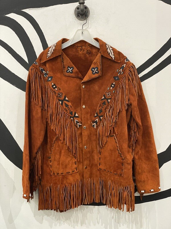 Fringe Hand Decorated Tan Suede Jacket Size L