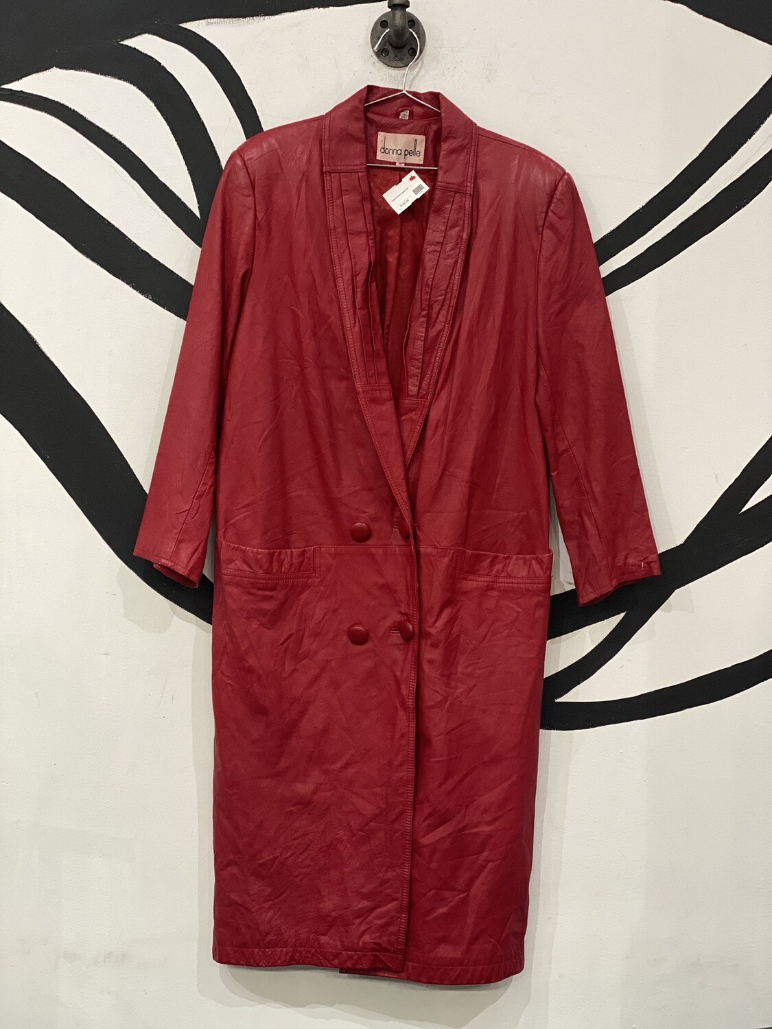 Donna Pelle Oversized Red Leather Trench Coat Size S