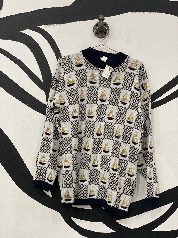 White & Gold Pattern Sweater Size M