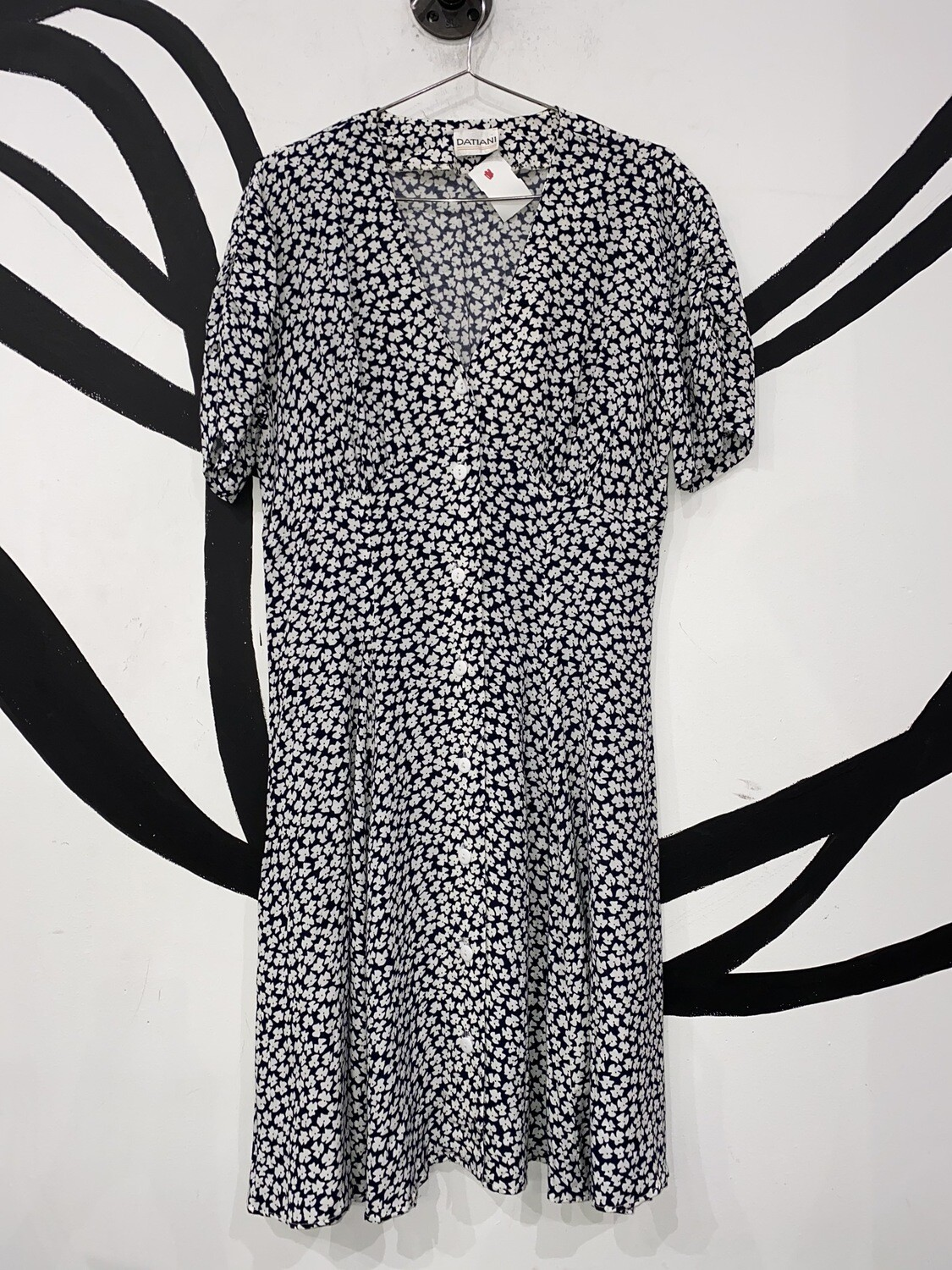 Black And White Floral Datiani Dress Size L