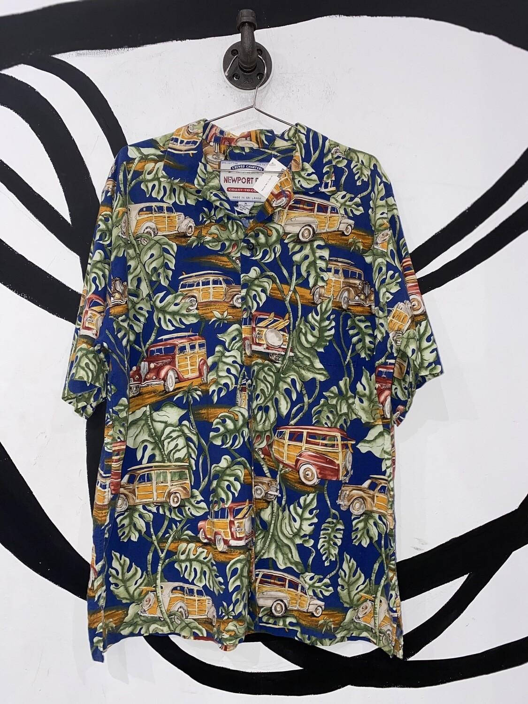 Woody And Vine Newport Blue Hawaiian Shirt Size M