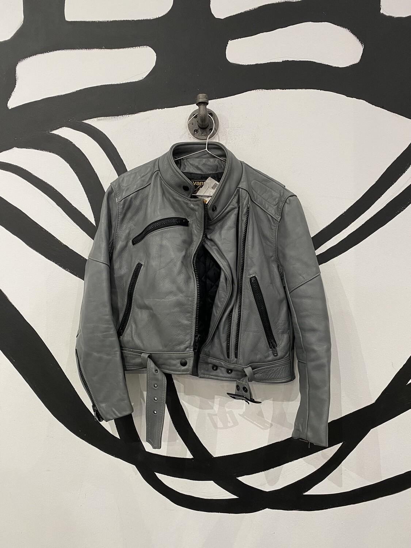 Grey Leather Moto Jacket Size M