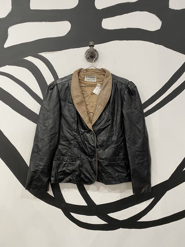 Black And Brown Leather Blazer Size S