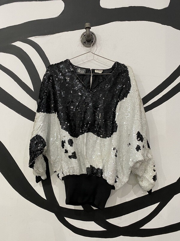 Black And White Sequins Top Size L