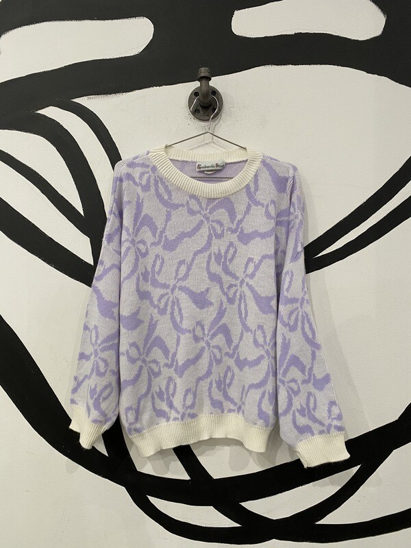 Bow Print Sweater Size S