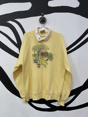 Embroidered Collared Crewneck Size L