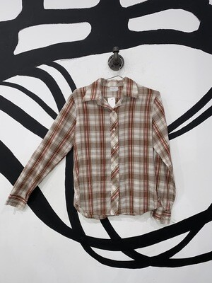 Brown And Red Plaid Button Up Size S