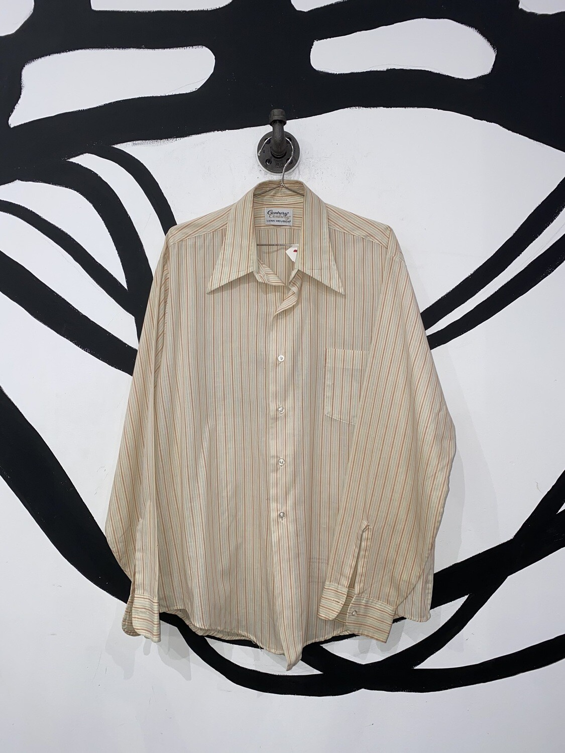 Pasted Striped Button Up Size L
