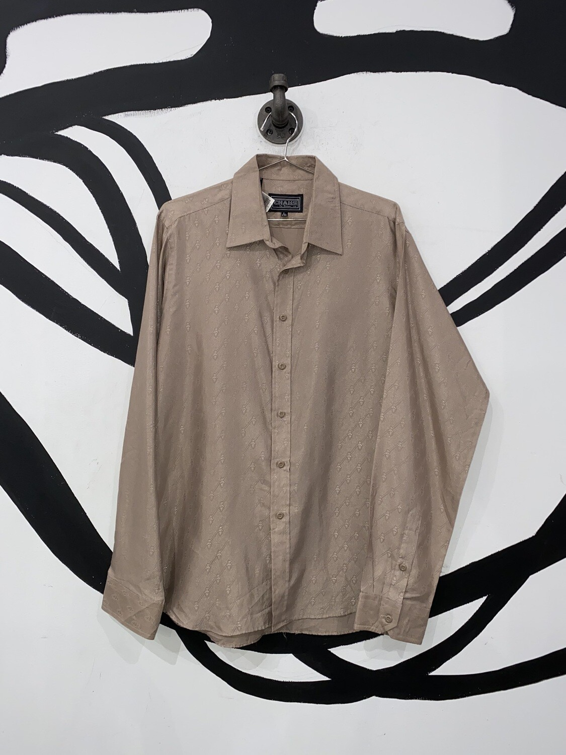 Printed Brown Button Up Size L