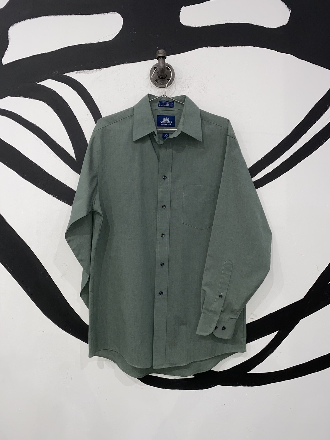 Stafford Green Button Up Size S