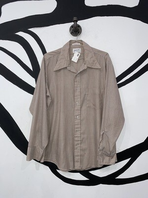 Brown And White Striped Button Up Size M