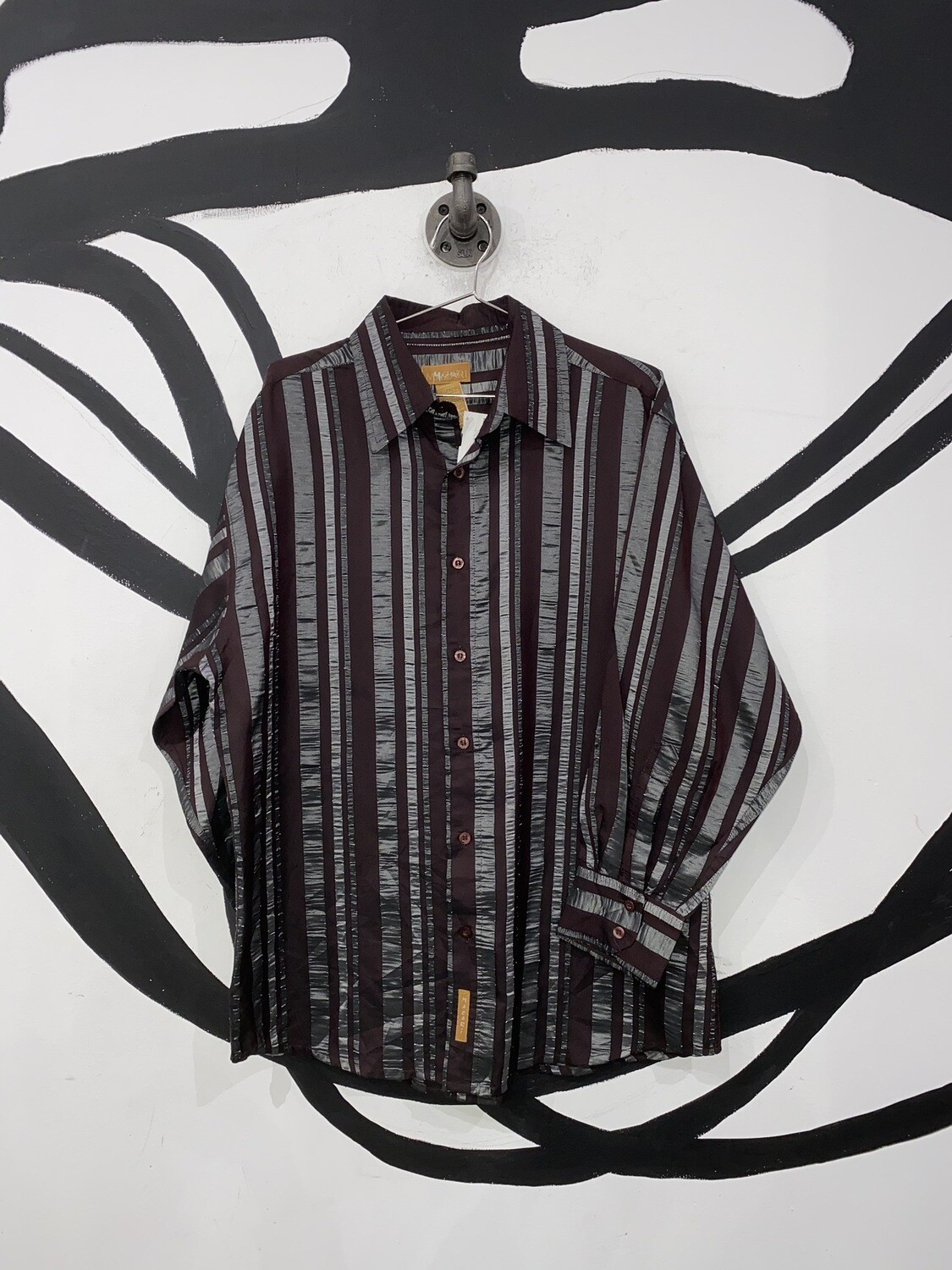 Maroon And Silver Button Up Size L