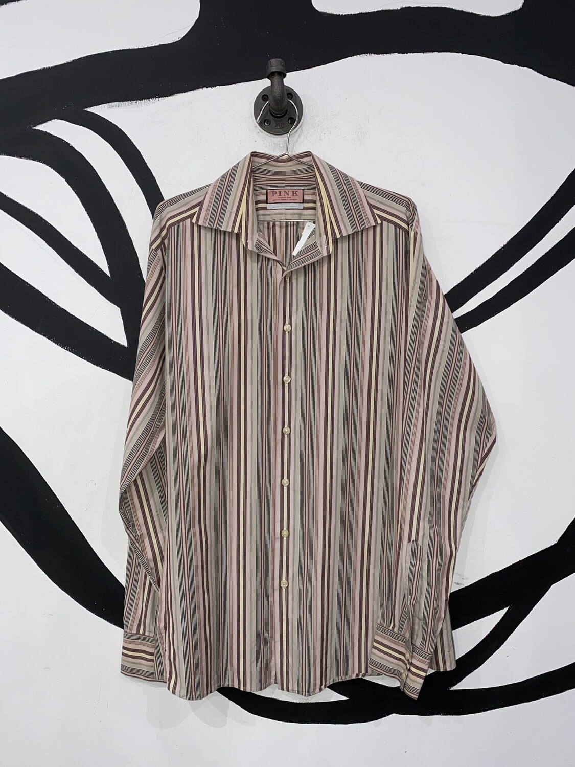 Thomas Pink Striped Button Up Size L