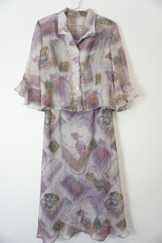 Long Sleeveless purple dress and matching Jacket Size 10